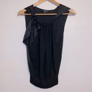 Black Silk Top with Bow